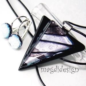 Fekete-ezüst üvegékszer szett, nyaklánc, kapcsos fülbevaló  (magdidesign) - Meska.hu