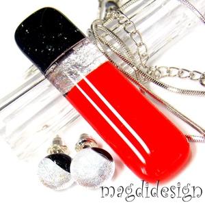 Ezüst csillogás vörösen-feketén üvegékszer szett, nyaklánc, stiftes fülbevaló , Ékszer, Fülbevaló, Medál, Ékszerszett, Ékszerkészítés, Üvegművészet, Csillogó ezüst dichroic, vörös és csillogó fekete aventurin ékszerüveg felhasználásával készült a me..., Meska
