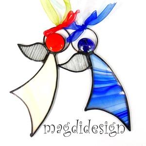 Karácsonyi tiffany angyalkák 2 db, kék, beige, Otthon & Lakás, Karácsony & Mikulás, Karácsonyi dekoráció, Üvegművészet, Fémmegmunkálás, Kék, beige mintás, bordás színtelen üveg és lámpagyöngy felhasználásával készült a kettő angyalka, t..., Meska