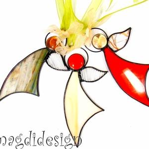 Karácsonyi tiffany angyalkák 3 db, Otthon & Lakás, Karácsony & Mikulás, Karácsonyi dekoráció, Üvegművészet, Fémmegmunkálás, Csillogó barna-beige krémszín, piros, színtelen üveg és lámpagyöngy felhasználásával készült a három..., Meska