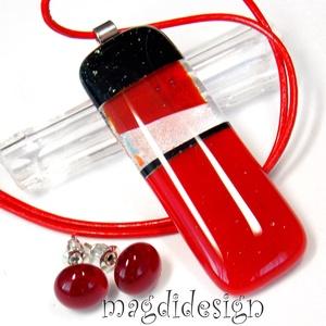 Vörös és fekete üvegékszer szett, nyaklánc, pötty fülbevaló , Ékszerszett, Ékszer, Ékszerkészítés, Üvegművészet, AKCIÓ! HÁRMAT FIZET NÉGYET VIHET!! HÁROM ÉKSZERSZETT VÁSÁRLÁSA UTÁN EGY SZETTET AJÁNDÉKBA KÜLDÖK. Cs..., Meska
