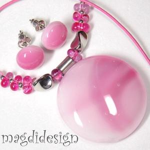 Pasztell rózsaszín üvegékszer szett nyaklánc, stiftes fülbevaló, Ékszer, Medál, Fülbevaló, Ékszerszett, Ékszerkészítés, Üvegművészet, Rózsaszín, mintás, minőségi ékszerüveg került felhasználásra ennél a mutatós, elegáns nyakláncnál és..., Meska
