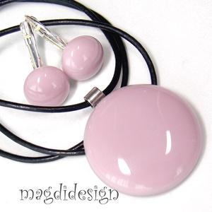 Pasztell lilás rózsaszín  üvegékszer szett, nyaklánc, kapcsos fülbevaló , Ékszer, Fülbevaló, Medál, Ékszerszett, Ékszerkészítés, Üvegművészet, Halvány, púderes, lilás rózsaszín, minőségi, ékszerüvegből készült a medál, és a kapcsos fülbevaló, ..., Meska