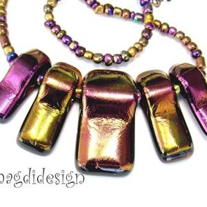 Éteri eozin bíbor-arany-fényben üvegékszer nyaklánc - ékszer - nyaklánc - statement nyaklánc - Meska.hu