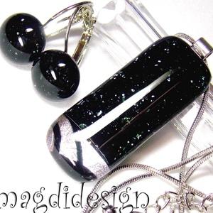 Ezüst csillogás feketén üvegékszer szett, nyaklánc, kapcsos fülbevaló , Ékszer, Fülbevaló, Medál, Ékszerszett, Ékszerkészítés, Üvegművészet, Csillogó ezüst dichroic üveg és csillogó fekete aventurin ékszerüveg felhasználásával készült a medá..., Meska