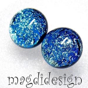 Kék csillogás üvegékszer pötty fülbevaló  (magdidesign) - Meska.hu