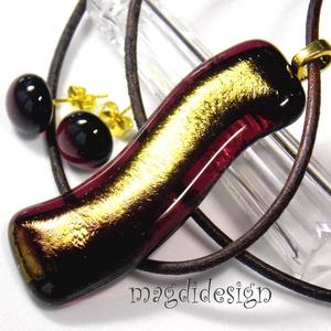 AKCIÓ! Burgundi-arany hullámzás üvegékszer szett nyaklánc, stiftes fülbevaló, Ékszerszett, Ékszer, Ékszerkészítés, Üvegművészet, AKCIÓ! HÁRMAT FIZET NÉGYET VIHET!! HÁROM ÉKSZERSZETT VÁSÁRLÁSA UTÁN EGY SZETTET AJÁNDÉKBA KÜLDÖK. Cs..., Meska