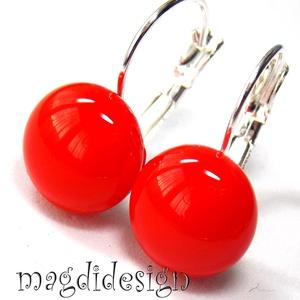 Akciós!  cseresznyepiros üvegékszer kapcsos fülbevaló ORVOSI ACÉL, Ékszer, Fülbevaló, Lógós fülbevaló, Ékszerkészítés, Üvegművészet, Piros ékszerüveg felhasználásával készült a kapcsos fülbevaló, olvasztásos technikával. Az üvegrész ..., Meska