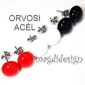 Fekete, fehér, piros üvegékszer stiftes fülbevaló 3 pár   ORVOSI ACÉL (magdidesign) - Meska.hu