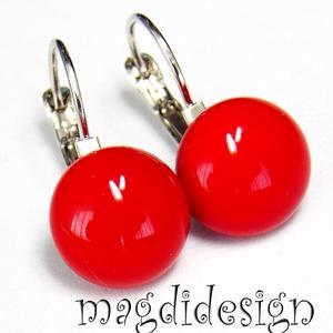 AKCIÓ!!!  Pici piros üvegékszer kapcsos fülbevaló , Ékszer, Fülbevaló, Lógós kerek fülbevaló, Ékszerkészítés, Üvegművészet, Piros ékszerüveg felhasználásával készült a kapcsos fülbevaló, fusing technikával. A fülbevaló üveg ..., Meska