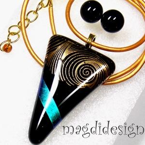 Arany kék kontraszt üvegékszer szett, nyaklánc, kék stiftes fülbevaló, Ékszer, Medál, Fülbevaló, Ékszerszett, Ékszerkészítés, Üvegművészet, Fekete és csillogó arany, kék dichroic ékszerüveg felhasználásával készült a medál és a stiftes fülb..., Meska