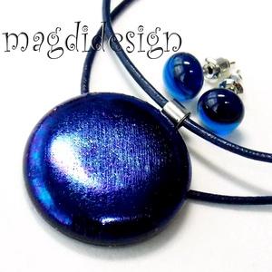 Éteri eozin kék fényben üvegékszer szett, nyaklánc, fülbevaló, Ékszerszett, Ékszer, Ékszerkészítés, Üvegművészet, AKCIÓ! HÁRMAT FIZET NÉGYET VIHET!! HÁROM ÉKSZERSZETT VÁSÁRLÁSA UTÁN EGY SZETTET AJÁNDÉKBA KÜLDÖK. Cs..., Meska