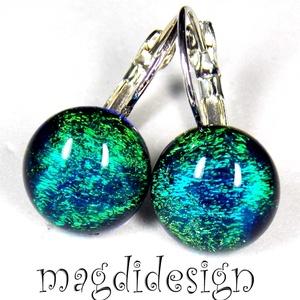 Smaragd-kék selyemfény dichroic üvegékszer kapcsos fülbevaló , Ékszer, Fülbevaló, Táska, Divat & Szépség, Ékszerkészítés, Üvegművészet, Óriási választék kapcsos és stiftes fülbevalókból boltomban. Színjátszó smaragd-kék-zöld dichroic ék..., Meska