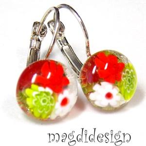 Piros, fehér, zöld virágos. üvegékszer kapcsos fülbevaló (magdidesign) - Meska.hu