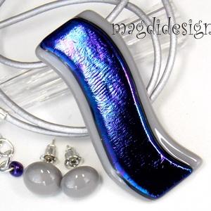 Szürke kék hullámzás üvegékszer szett nyaklánc, stiftes fülbevaló, Ékszerszett, Ékszer, Ékszerkészítés, Üvegművészet, AKCIÓ! HÁRMAT FIZET NÉGYET VIHET!! HÁROM ÉKSZERSZETT VÁSÁRLÁSA UTÁN EGY SZETTET AJÁNDÉKBA KÜLDÖK.  K..., Meska