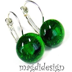 Áttetsző smaragdzöld üvegékszer kapcsos fülbevaló, Ékszer, Fülbevaló, Ékszerkészítés, Üvegművészet, Óriási színválaszték kapcsos és stiftes fülbevalókból boltomban!!!   Áttetsző zöld ékszerüveg felhas..., Meska