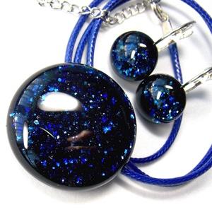 Kék aventurin csillogás üvegékszer szett, nyaklánc, kapcsos fülbevaló, Ékszerszett, Ékszer, Ékszerkészítés, Üvegművészet, AKCIÓ! HÁRMAT FIZET NÉGYET VIHET!! HÁROM ÉKSZERSZETT VÁSÁRLÁSA UTÁN EGY SZETTET AJÁNDÉKBA KÜLDÖK.  C..., Meska