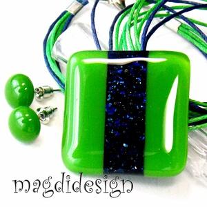 Zöld-kék aventurin csíkos üvegékszer szett, nyaklánc, pötty fülbevaló, Ékszer, Fülbevaló, Medál, Ékszerszett, Ékszerkészítés, Üvegművészet, Óriási választék boltomban aventurin üvegékszer szettekből!!! Csillogó, kék aventurin és zöld ékszer..., Meska