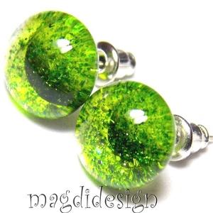 Zöld csillámporos üvegékszer pötty fülbevaló , Ékszer, Fülbevaló, Ékszerkészítés, Üvegművészet, Óriási színválaszték kapcsos és stiftes fülbevalókból boltomban!!!  Zöld csillogó ékszerüveg felhasz..., Meska
