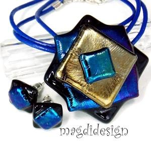 Tavirózsa kék-arany-bíbor eozin üvegékszer szett, nyaklánc, fülbevaló, Ékszer, Medál, Fülbevaló, Ékszerszett, Ékszerkészítés, Üvegművészet, Óriási választék eozinos ékszerekből boltomban!  Elegáns, vagány, feltűnő, különleges formájú kék-ar..., Meska