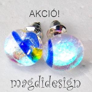 Szivárványos csillogás üvegékszer pötty fülbevaló, Ékszer, Fülbevaló, Ékszerkészítés, Üvegművészet, Színjátszó, kék, mintás dichroic ékszerüveg felhasználásával készült a stiftes fülbevaló, olvasztáso..., Meska