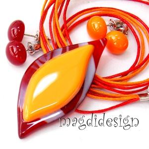 Narancsos-meggy levél üvegékszer szett, nyaklánc 2 pár pötty fülbevaló (magdidesign) - Meska.hu
