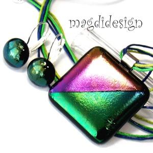 Éteri eozin bíbor-zöld-arany fényben üvegékszer szett, nyaklánc, kapcsos fülbevaló, Ékszer, Medál, Fülbevaló, Ékszerkészítés, Üvegművészet, Óriási választék eozinos ékszerekből boltomban!  Elegáns, vagány, feltűnő, kocka formájú bíbor-zöld ..., Meska