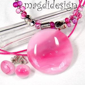 Rózsaszín márványos üvegékszer szett nyaklánc, stiftes fülbevaló, Ékszer, Medál, Fülbevaló, Ékszerszett, Ékszerkészítés, Üvegművészet, Rózsaszín, mintás, minőségi ékszerüveg került felhasználásra ennél a mutatós, elegáns nyakláncnál és..., Meska