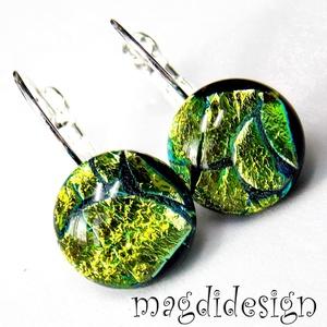 Arany-zöld dichroic üvegékszer kapcsos fülbevaló, Ékszer, Táska, Divat & Szépség, Fülbevaló, Ékszerkészítés, Üvegművészet, Óriási színválaszték kapcsos és stiftes fülbevalókból boltomban!!!     Csillogó, arany-zöld mintás ..., Meska