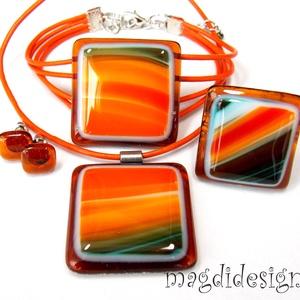Narancskoktél üvegékszer szett nyaklánc, karkötő, gyűrű, stiftes fülbevaló, Ékszerszett, Ékszer, Ékszerkészítés, Üvegművészet, Mintás narancs, beige, barna, türkiz, áttetsző karamell színű ékszerüveg felhasználásával készült a ..., Meska