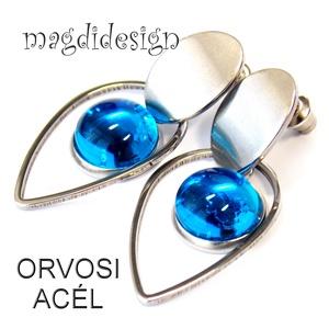 Ég-kék üvegékszer lógós orvosi acél fülbevaló, Ékszer, Fülbevaló, Lógó csepp fülbevaló, Üvegművészet, Ékszerkészítés, Ég-kék, áttetsző ékszerüveg felhasználásával készült a lógós fülbevaló kabosanos kék bogyós része, f..., Meska