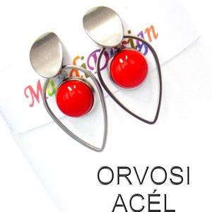 Cseresznyepiros üvegékszer lógós acél fülbevaló (magdidesign) - Meska.hu