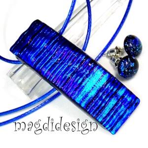 Akció!!!Király-kék fény üvegékszer szett, nyaklánc, stiftes fülbevaló, Ékszerszett, Ékszer, Ékszerkészítés, Üvegművészet, AKCIÓ! HÁRMAT FIZET NÉGYET VIHET!! HÁROM ÉKSZERSZETT VÁSÁRLÁSA UTÁN EGY SZETTET AJÁNDÉKBA KÜLDÖK.! E..., Meska