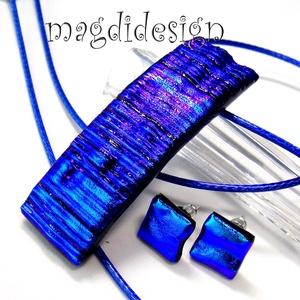 Király-kék fény üvegékszer szett, nyaklánc, stiftes fülbevaló (magdidesign) - Meska.hu