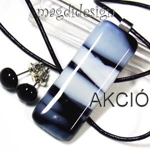 AKCIÓ! Fátyolos fekete-fehér üvegékszer szett nyaklánc, stiftes fülbevaló (magdidesign) - Meska.hu