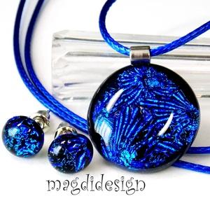 Kék tűzijáték üvegékszer szett , medál stiftes fülbevaló, Ékszerszett, Ékszer, Ékszerkészítés, Üvegművészet, AKCIÓ! HÁRMAT FIZET NÉGYET VIHET!! HÁROM ÉKSZERSZETT VÁSÁRLÁSA UTÁN EGY SZETTET AJÁNDÉKBA KÜLDÖK.!  ..., Meska