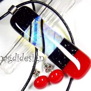Vörös, fekete színjátszó üvegékszer szett, nyaklánc, pötty fülbevaló , Ékszerszett, Ékszer, Ékszerkészítés, Üvegművészet, AKCIÓ! HÁRMAT FIZET NÉGYET VIHET!! HÁROM ÉKSZERSZETT VÁSÁRLÁSA UTÁN EGY SZETTET AJÁNDÉKBA KÜLDÖK.  C..., Meska