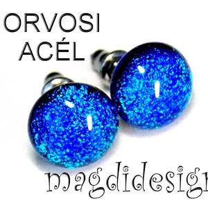 Tengernyi csillogás üvegékszer pötty fülbevaló ORVOSI ACÉL, Ékszer, Fülbevaló, Pötty fülbevaló, Ékszerkészítés, Üvegművészet, Kék dichroic ékszerüveg felhasználásával készült a pötty fülbevaló, olvasztásos technikával, fény ha..., Meska