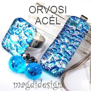 Ezüst-kék csillogás üvegékszer szett, nyaklánc, gyűrű, stiftes fülbevaló ORVOSI ACÉL, Ékszerszett, Ékszer, Ékszerkészítés, Üvegművészet, Óriási választék dichroic ékszerekből boltomban!!! Ezüst-kék mintás dichroic ékszerüveg felhasználás..., Meska