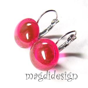 Áttetsző málna üvegékszer kapcsos fülbevaló, Ékszer, Fülbevaló, Lógós kerek fülbevaló, Ékszerkészítés, Üvegművészet, Elegáns, feltűnő, élénk rózsaszín, kapcsos, üveg fülbevaló. Áttetsző, élénk, rózsaszín ékszerüveg fe..., Meska