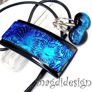 Fekete-kék Fúzió üvegékszer szett, nyaklánc, kapcsos fülbevaló, Ékszerszett, Ékszer, Ékszerkészítés, Üvegművészet, AKCIÓ! HÁRMAT FIZET NÉGYET VIHET!! HÁROM ÉKSZERSZETT VÁSÁRLÁSA UTÁN EGY SZETTET AJÁNDÉKBA KÜLDÖK.  C..., Meska