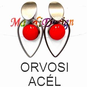 Cseresznyepiros üvegékszer lógós fülbevaló ORVOSI ACÉL, Ékszer, Fülbevaló, Lógó fülbevaló, Üvegművészet, Ékszerkészítés, Cseresznyepiros ékszerüveg felhasználásával készült a lógós fülbevaló kabosanos piros bogyós része, ..., Meska