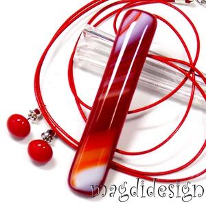 Narancs-fehér csíkos üvegékszer szett, nyaklánc, stiftes fülbevaló, Ékszer, Ékszerszett, Ékszerkészítés, Üvegművészet, AKCIÓ! HÁRMAT FIZET NÉGYET VIHET!! HÁROM ÉKSZERSZETT VÁSÁRLÁSA UTÁN EGY SZETTET AJÁNDÉKBA KÜLDÖK.  N..., Meska