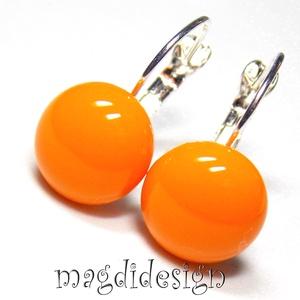 AKCIÓ! Narancs üvegékszer kapcsos fülbevaló, Ékszer, Fülbevaló, Lógós kerek fülbevaló, Ékszerkészítés, Üvegművészet, Narancsszínű  ékszerüveg felhasználásával készült a kapcsos fülbevaló, olvasztásos technikával. A fü..., Meska