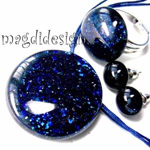 Kék aventurin csillogás üvegékszer szett, nyaklánc, gyűrű, fülbevaló - ékszer - ékszerszett - Meska.hu