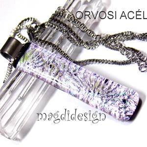 Ezüstös-rózsaszín tűzijáték dichroic, üvegékszer medál ORVOSI ACÉL, Ékszer, Nyaklánc, Medál, Ékszerkészítés, Üvegművészet, Meska