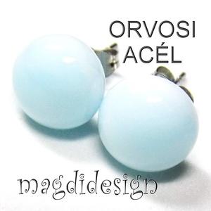 Púderes kék üvegékszer pötty fülbevaló  ORVOSI ACÉL, Ékszer, Fülbevaló, Pötty fülbevaló, Ékszerkészítés, Üvegművészet,  Halvány, púderkék, ékszerüveg felhasználásával készült a stiftes fülbevaló, olvasztásos technikával..., Meska
