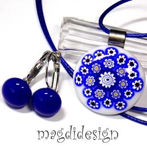 Kékfestő millefiori üvegékszer szett, nyaklánc, kék kapcsos fülbevaló, Ékszer, Ékszerszett, Ékszerkészítés, Üvegművészet, AKCIÓ! HÁRMAT FIZET NÉGYET VIHET!! HÁROM ÉKSZERSZETT VÁSÁRLÁSA UTÁN EGY SZETTET AJÁNDÉKBA KÜLDÖK. Fe..., Meska