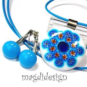 Kék virágos millefiori üvegékszer szett, nyaklánc, kék kapcsos fülbevaló, Ékszer, Ékszerszett, Ékszerkészítés, Üvegművészet, AKCIÓ! HÁRMAT FIZET NÉGYET VIHET!! HÁROM ÉKSZERSZETT VÁSÁRLÁSA UTÁN EGY SZETTET AJÁNDÉKBA KÜLDÖK. Fe..., Meska