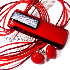 Ezüstös rubin-piros üvegékszer szett, nyaklánc, stiftes fülbevaló, Ékszerszett, Ékszer, Ékszerkészítés, Üvegművészet, AKCIÓ! HÁRMAT FIZET NÉGYET VIHET!! HÁROM ÉKSZERSZETT VÁSÁRLÁSA UTÁN EGY SZETTET AJÁNDÉKBA KÜLDÖK. Ez..., Meska